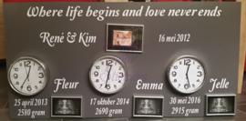 Geboorte/trouwbord 3 kinderen en trouwdatum 60x120 cm