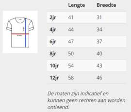 Maattabel Kinder T-shirten