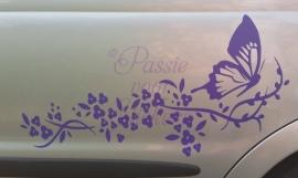 Autosticker Vlinder met bloemen