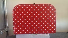 Koffer 25 cm rood met stippen
