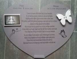 Wandbord Hart van mdf met 3d vlinder