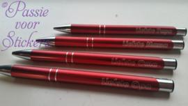 Rode pen met tekst Liefste...