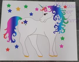 Regenboog Unicorn deur/muursticker