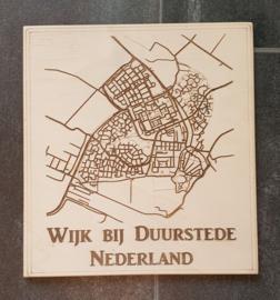 Houten plattegrond van uw stad, land of dorp