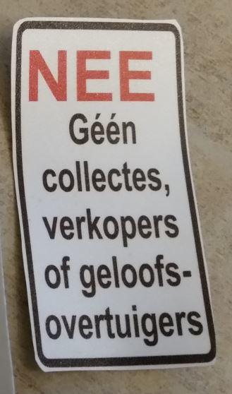 Nee, geen collectes... 4x7,5cm