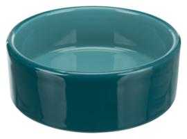 Keramische voer/waterbak turquoise 12 cm