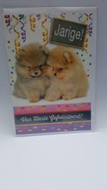 Kaart puppie verjaardagskaart