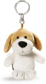 Nici Pluche beagel hond wit/beige/ bruin10cm Sleutelhanger