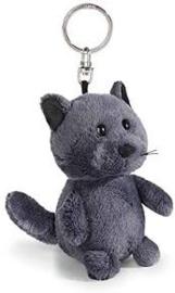 Nici Pluche Kat grijs 10cm Sleutelhanger