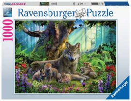 Ravensburger puzzel Familie wolf in het bos