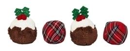 Pluche kerstballen 4 stuks