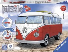 3d volkswagenbus puzzel wit rood