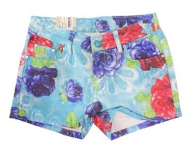 Short met bloemen - lichtblauw