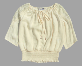PATRIZIA PEPE boho blouse met kant - ecru