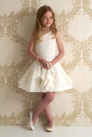 DIAMANTE BLU communie / bruidsmeisje jurk open rug - ecru, goud