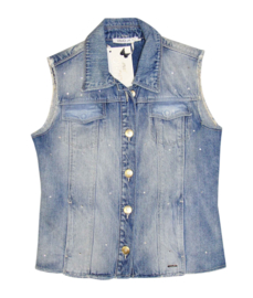 LIU-JO jeansjas zonder mouwen met strass - lichtblauw