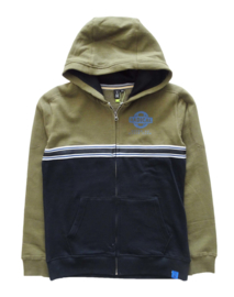 S1 by SOMEONE hoodie met rits - kaki, zwart