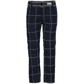 LCEE broek met riem geruit - blauw