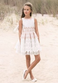 LINEA RAFFAELLI communie / bruidsmeisje jurk - ecru, oudroze