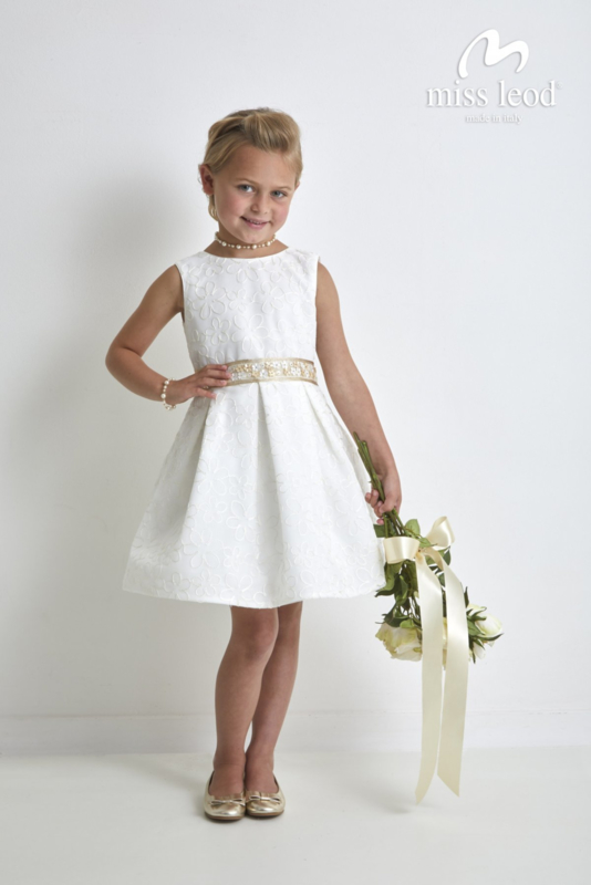MISS LEOD communie / bruidsmeisje jurk - ecru, goud