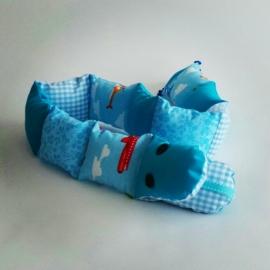 Blauwe stoffen slang
