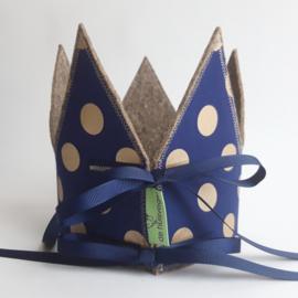 verjaardagskroon ( donkerblauw met gouden stippen )