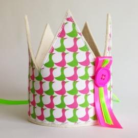 verjaardagskroon met eendjes (neonroze /neongroen)