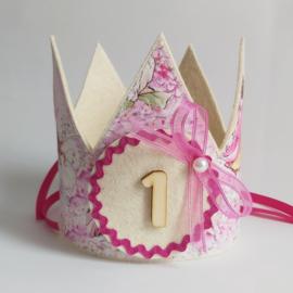 verjaardagskroon met elfjes (roos)