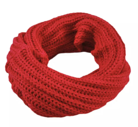 Knitted collar scarf red