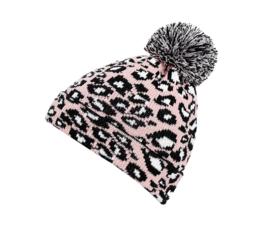 Leopard pom pom beanie pink