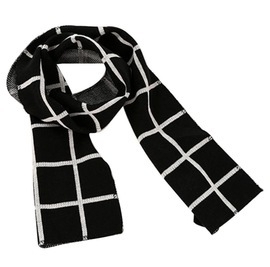 Black grid scarf