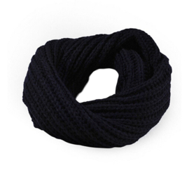 Knitted collar navy blue