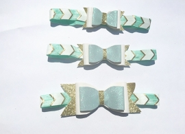 Bow headband mint & gold