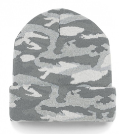 Knitted camo light grey beanie