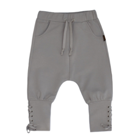 Drop crotch laced pants metal grey