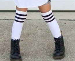Knee socks black stripes