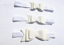 Bow headband glitter off white