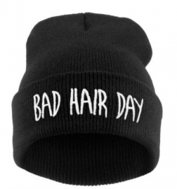 Bad hair day beanie black/white