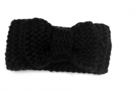 Knitted headband bow black