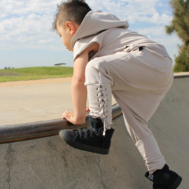 Drop crotch laced pants metal grey