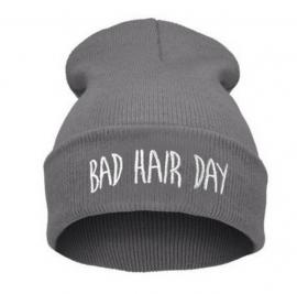 Bad hair day beanie grijs