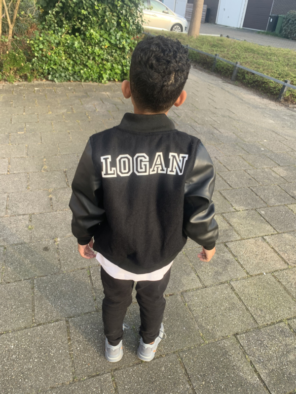 Leather baseball jacket (met of zonder naam)