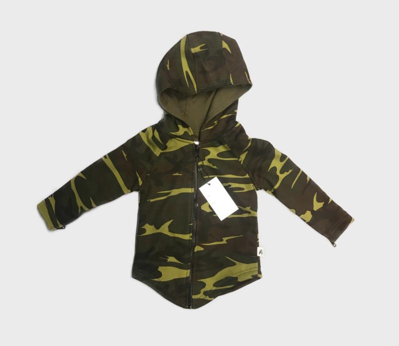 Camo green zipped hoodie