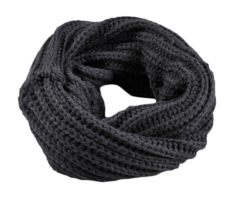 Knitted collar scarf dark grey