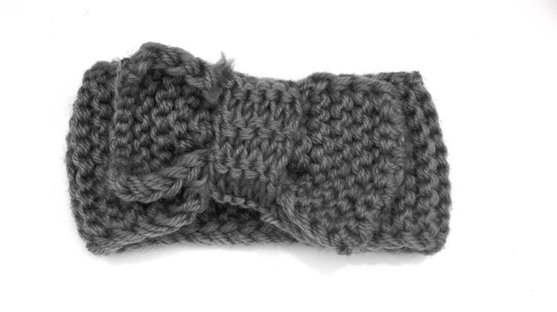 Knitted headband bow grey
