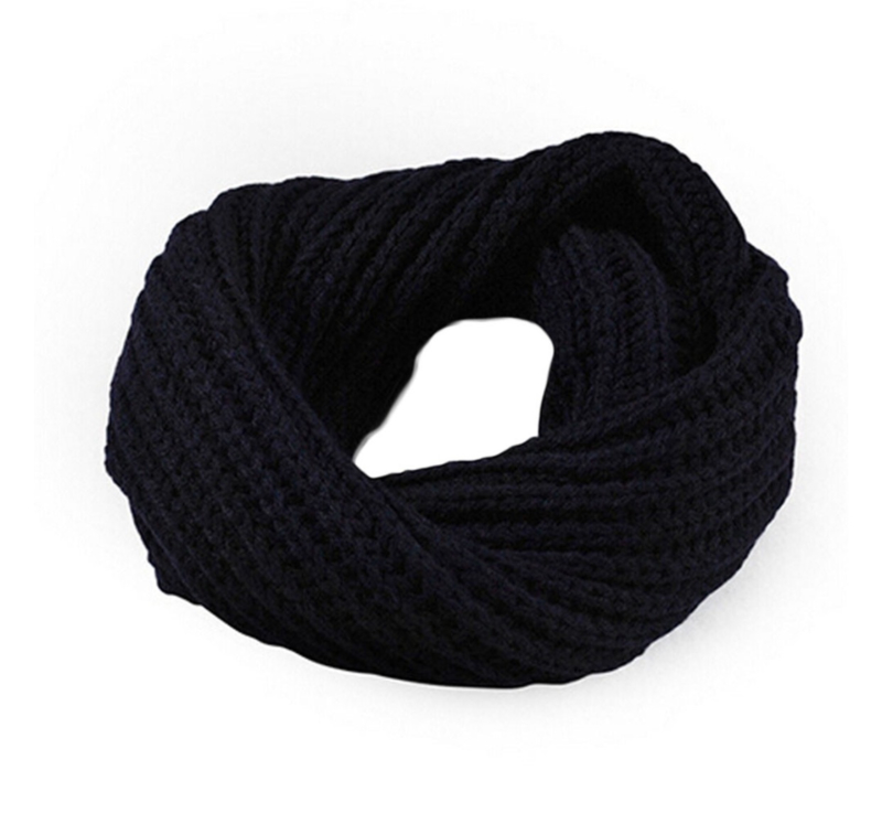 Knitted collar scarf navy blue