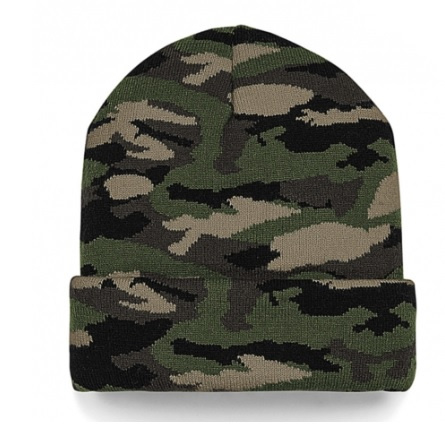 Knitted camo green beanie