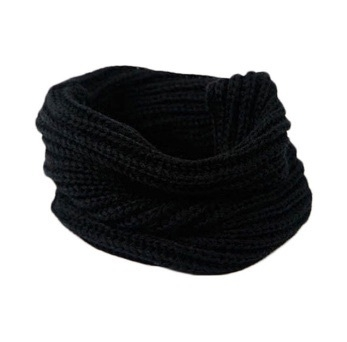 Knitted collar scarf black