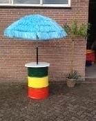 Oliedrum statafel met parasol