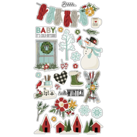 Winter Farmhouse Chipboard Stickers - Simple Stories